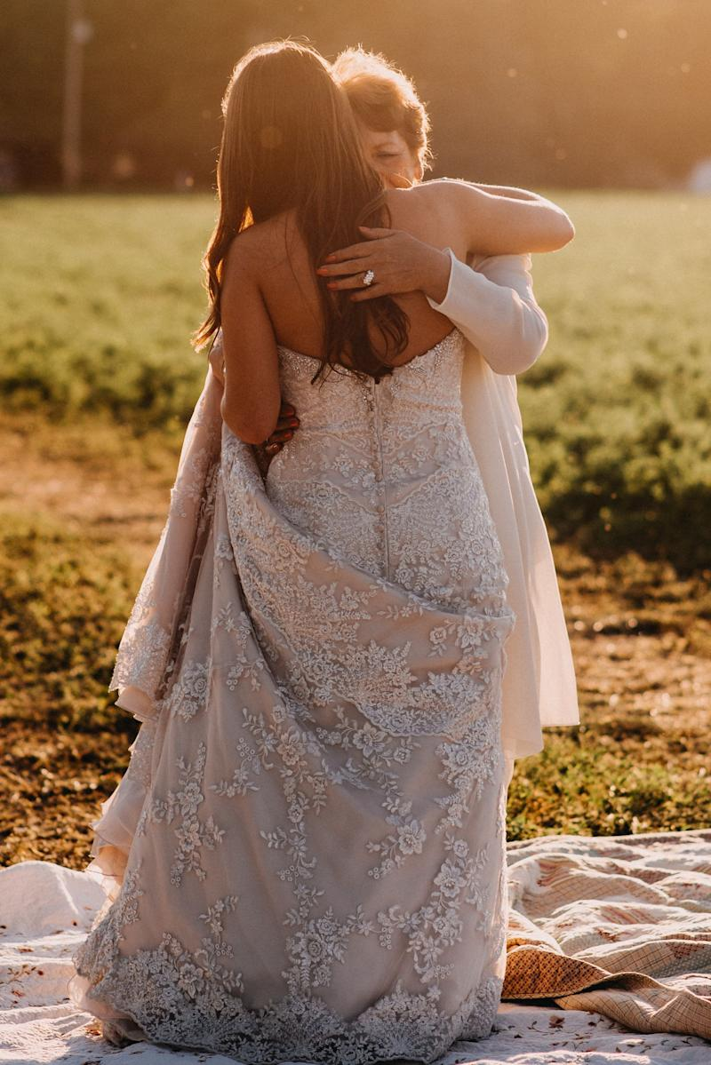Brittany and Ellen danced on a quilt so the bride-to-be didn't get her dress dirty.