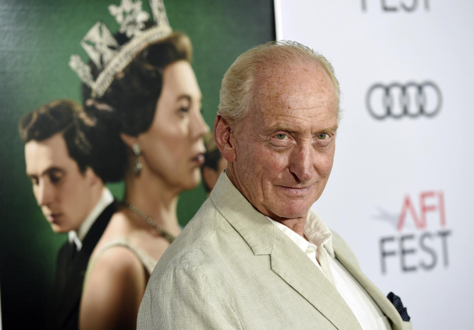 """Charles Dance, a cast member in the Netflix series """"The Crown,"""" poses at a gala screening of the show at the 2019 AFI Fest at the TCL Chinese Theatre, Saturday, Nov. 16, 2019, in Los Angeles. (Photo by Chris Pizzello/Invision/AP)"""