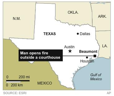 Map locates town where a man opened fire outside a Texas courthouse, killing one person and wounding at least three others.