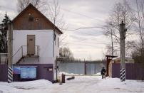 FILE PHOTO: General view shows a gate of the Penal Colony No 2, where opposition leader Alexei Navalny supposedly serves his jail term, in the town of Pokrov