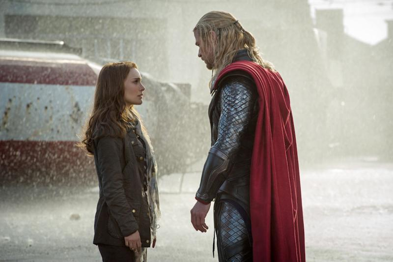 The star-crossed lovers Jane Foster (Natalie Portman) and Thor (Chris Hemsworth) in 'Thor: The Dark World' (credit: Marvel Studios)