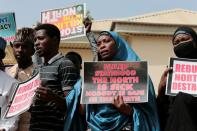Demonstrators gather to urge authorities to rescue hundreds of abducted schoolboys, in northwestern state of Katsina