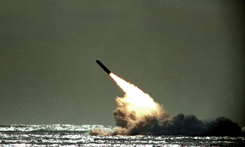 A Trident missile being launched by the US Navy in 1989