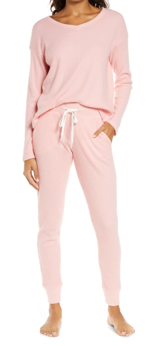 Papinelle Waffle Weave Pyjamas in Peony