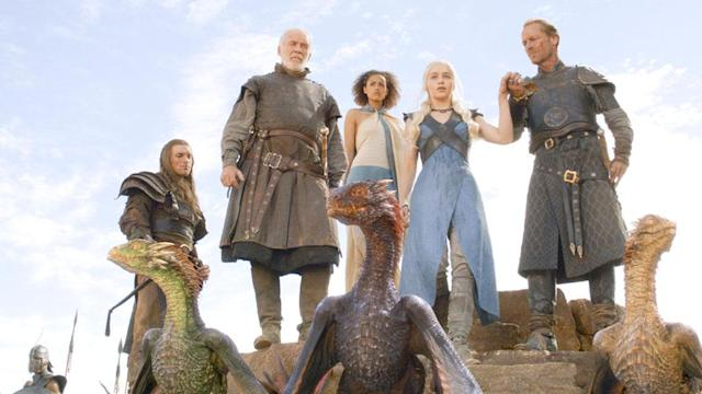 "Ed Skrein, Ian McElhinney, Nathalie Emmanuel, Emilia Clarke, and Iain Glen in the ""Game of Thrones"" Season 3 finale, ""Mhysa."""