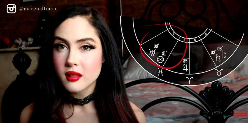 Maren Altman, a 22-year old astrologer, makes her predictions for bitcoin prices in New York