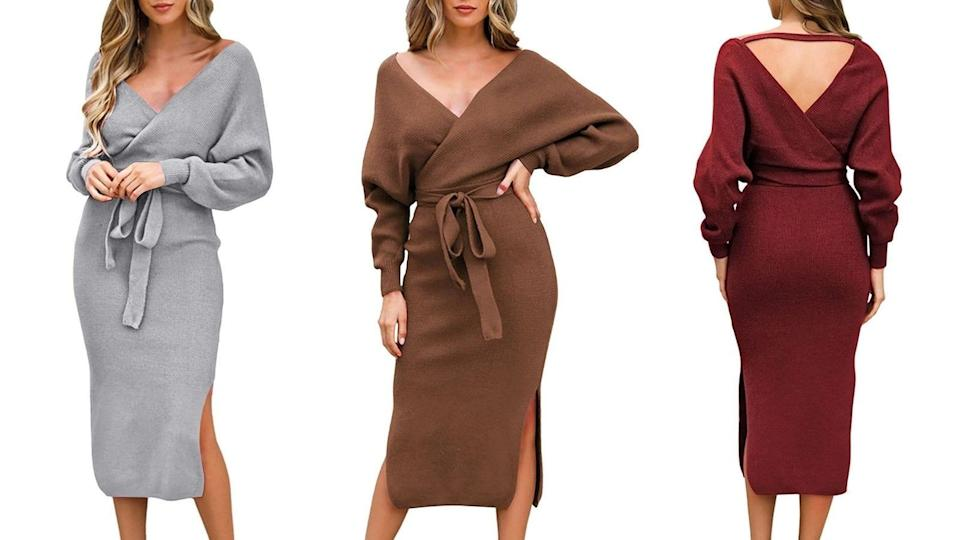 Stay cute and cozy while oozing tons of sex appeal in this v-neck dress.
