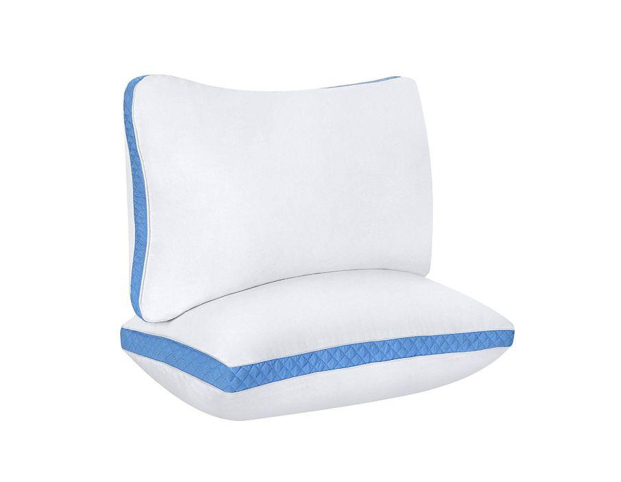 """<strong><a href=""""https://www.amazon.com/Utopia-Bedding-Gusseted-Standard-Sleepers/dp/B01FXSVBNI?tag=thehuffingtonp-20"""" target=""""_blank"""" rel=""""noopener noreferrer"""">This Utopia Bedding microfiber pillow</a></strong>hasabout a 2.5-inch gusset that lifts the head and aligns the spine while you sleep on your side. It has more than 2,500 reviews on Amazon, making ot one of Amazon's best-selling firm pillows. <strong><a href=""""https://www.amazon.com/Utopia-Bedding-Gusseted-Standard-Sleepers/dp/B01FXSVBNI?tag=thehuffingtonp-20"""" target=""""_blank"""" rel=""""noopener noreferrer"""">Get the set on Amazon, $23</a></strong>."""