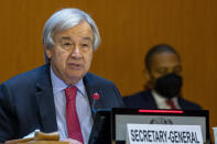 U.N. Secretary-General Antonio Guterres, addresses his statement, during the High-Level Ministerial Event on the Humanitarian Situation in Afghanistan, at the European headquarters of the United Nation, in Geneva, Switzerland, Monday, Sept. 13, 2021. (Salvatore Di Nolfi/Keystone via AP)