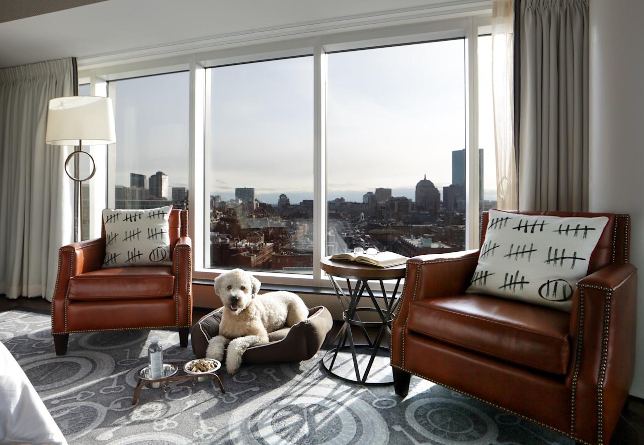 """<p><a href=""""https://www.cntraveler.com/destinations/boston?mbid=synd_yahoo_rss"""">Boston</a> has many pet-friendly hotels that court dog- and cat-owners. <a href=""""https://www.cntraveler.com/hotels/united-states/boston/liberty-hotel-boston?mbid=synd_yahoo_rss"""">The Liberty, a Luxury Collection Hotel</a> charges a $100 nightly fee for pets, but has several competitive advantages: a location near the dog-friendly Charles River Esplanade; a """"VIPS"""" (Very Important Pups) program, which includes a Liberty dog bed and a personalized dog bone upon arrival; and a """"Yappier Hour"""" on the patio of in-house restaurant, Clink. It's so popular that locals attend the event, which takes place from 5:30 to 8:00 p.m. every Monday and Wednesday, May to October. Come for the last weekend of the month for a true treat—an annual Halloween pet costume contest.</p> <p><strong>Book Now</strong>:<a href=""""https://prf.hn/click/camref:1100l3xo8/pubref:CNT/destination:https://www.expedia.com/Boston-Hotels-The-Liberty.h1680030.Hotel-Information"""" rel=""""nofollow"""">Expedia.com</a></p>"""