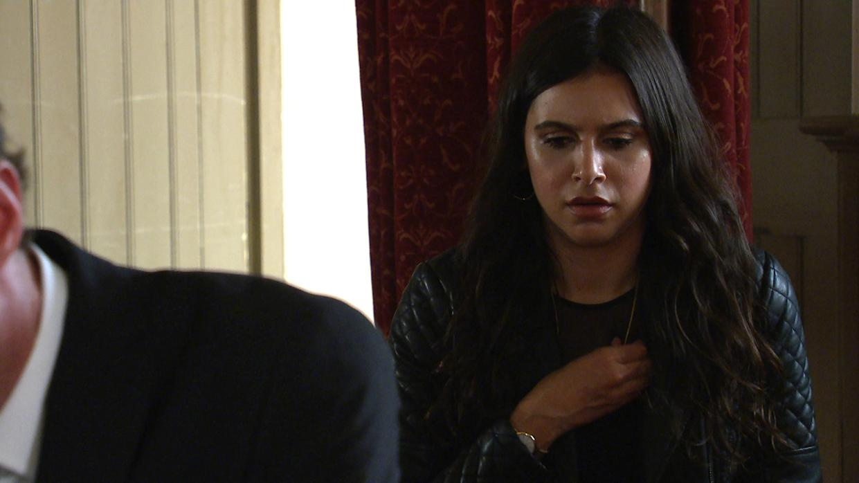 FROM ITV  STRICT EMBARGO  Print media - No Use Before Tuesday 20th July 2021 Online Media - No Use Before Tuesday 20th July 2021  Emmerdale - Ep 9112  Thursday 29th July 2021 - 1st Ep  At LeannaÕs funeral, Meena [PAIGE SANDHU] covertly fiddles with LeannaÕs ring on her necklace. She panics when the ring falls from the necklace, watching in horror as it rolls and stops near Liam CavanaghÕs [JONNY McPHERSON] shoe.   Picture contact David.crook@itv.com   This photograph is (C) ITV Plc and can only be reproduced for editorial purposes directly in connection with the programme or event mentioned above, or ITV plc. Once made available by ITV plc Picture Desk, this photograph can be reproduced once only up until the transmission [TX] date and no reproduction fee will be charged. Any subsequent usage may incur a fee. This photograph must not be manipulated [excluding basic cropping] in a manner which alters the visual appearance of the person photographed deemed detrimental or inappropriate by ITV plc Picture Desk. This photograph must not be syndicated to any other company, publication or website, or permanently archived, without the express written permission of ITV Picture Desk. Full Terms and conditions are available on  www.itv.com/presscentre/itvpictures/terms