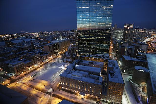 BOSTON, MA - FEBRUARY 09: Snow remains in Copley Square (lower L) with clear skies following a powerful blizzard on February 9, 2013 in Boston, Massachusetts. The storm knocked out power to 650,000 and dumped more than two feet of snow in parts of New England. (Photo by Mario Tama/Getty Images)