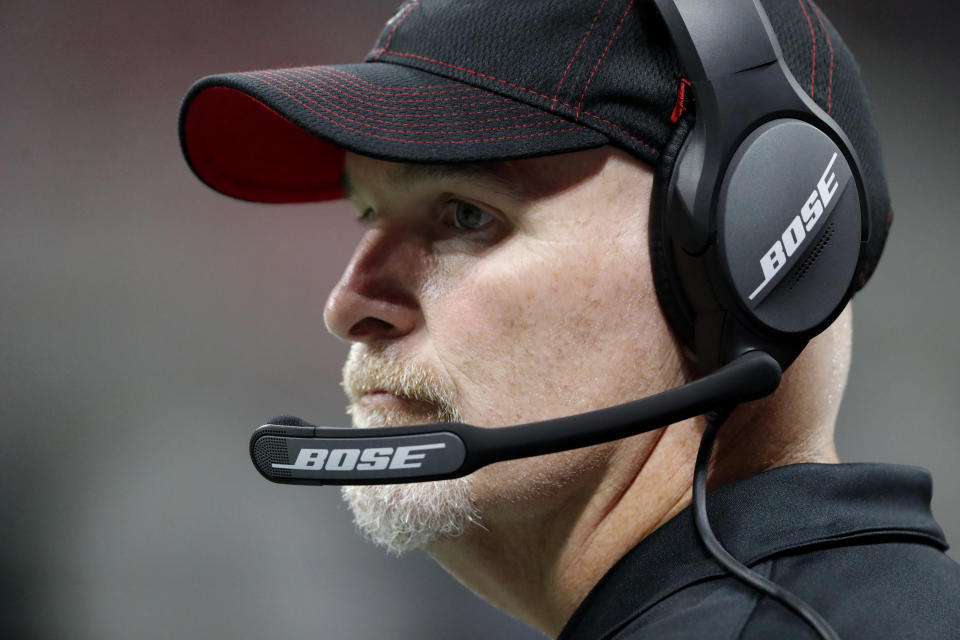 Atlanta Falcons head coach Dan Quinn watches play against the New York Jets during the first half an NFL preseason football game, Thursday, Aug. 15, 2019, in Atlanta. (AP Photo/John Bazemore)
