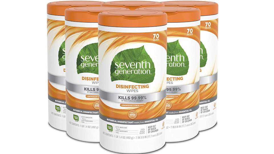 A total of 70 cloths comes included in a tube of Seventh Generation disinfecting wipes–clean to your heart's desire!