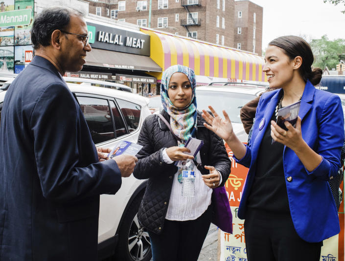 Then Democratic congressional candidate Alexandria Ocasio-Cortez, right, during a Bengali community outreach in New York, May 6, 2018. (Photo: Corey Torpie/Courtesy of the Alexandria Ocasio-Cortez Campaign via AP)
