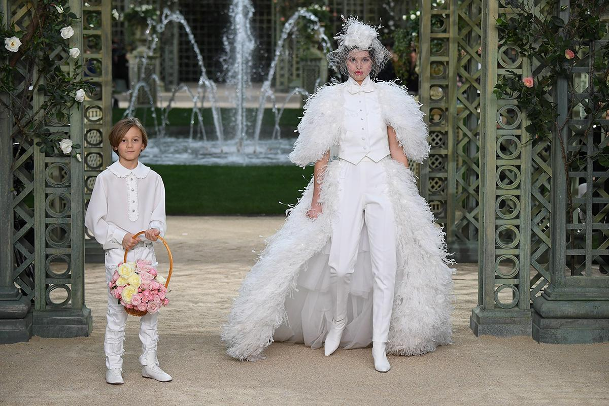 <p>Hudson Kroenig and a model Luna Bijl walk the runway during the Chanel Spring Summer 2018 show as part of Paris Fashion Week on January 23, 2018 in Paris, France. (Photo: Getty Images) </p>