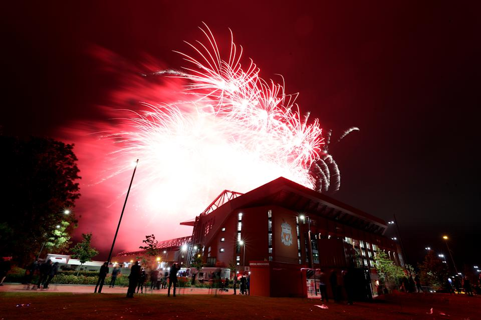 Fireworks are set off at Anfield Stadium as they lift the Premier League Trophy. (PHOTO: Peter Byrne/PA Images via Getty Images)