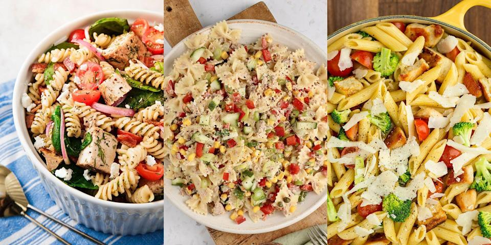"""<p>There's no beating a lovingly made, carefully prepared pasta salad. It's the summer lunch of all <a href=""""https://www.delish.com/uk/cooking/recipes/g32997531/summer-salads/"""" rel=""""nofollow noopener"""" target=""""_blank"""" data-ylk=""""slk:summer lunches"""" class=""""link rapid-noclick-resp"""">summer lunches</a>. Fresh, flavourful and downright delicious, it's the perfect alfresco dish. Not to mention, it's so versatile! You can make everything <a href=""""https://www.delish.com/uk/cooking/recipes/a35901399/tuna-pasta-salad/"""" rel=""""nofollow noopener"""" target=""""_blank"""" data-ylk=""""slk:Tuna Pasta Salad"""" class=""""link rapid-noclick-resp"""">Tuna Pasta Salad</a> to <a href=""""https://www.delish.com/uk/cooking/recipes/a30438961/chicken-pasta-salad/"""" rel=""""nofollow noopener"""" target=""""_blank"""" data-ylk=""""slk:Chicken Pasta Salad"""" class=""""link rapid-noclick-resp"""">Chicken Pasta Salad</a>, <a href=""""https://www.delish.com/uk/cooking/recipes/a32399230/bruschetta-pasta-salad-recipe/"""" rel=""""nofollow noopener"""" target=""""_blank"""" data-ylk=""""slk:Bruschetta Pasta Salad"""" class=""""link rapid-noclick-resp"""">Bruschetta Pasta Salad</a> to <a href=""""https://www.delish.com/uk/cooking/recipes/a32976916/tuscan-tortellini-salad-recipe/"""" rel=""""nofollow noopener"""" target=""""_blank"""" data-ylk=""""slk:Tuscan Tortellini Pasta Salad"""" class=""""link rapid-noclick-resp"""">Tuscan Tortellini Pasta Salad</a>. </p><p>Let's face it, there's a pasta salad out there for everyone.</p><p>So, in case you're looking for ways to use up that half bag of <a href=""""https://www.delish.com/uk/cooking/recipes/a29571352/chicken-sausage-and-mushroom-penne-recipe/"""" rel=""""nofollow noopener"""" target=""""_blank"""" data-ylk=""""slk:penne"""" class=""""link rapid-noclick-resp"""">penne</a> and soon-to-be-gone packet of salad, then be sure to take a look at some of our favourite pasta salad recipes now. You won't be disappointed, that's for sure!</p>"""