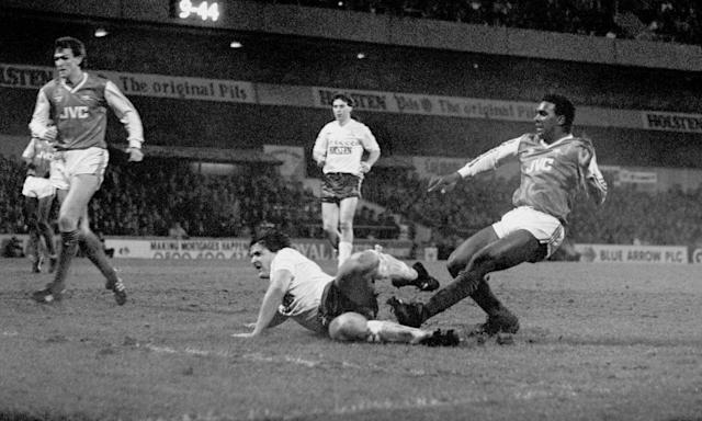 "<span class=""element-image__caption"">David Rocastle, right, scores in the 90th minute to give Arsenal a 2-1 win in the 1987 League Cup semi-final replay against Tottenham at White Hart Lane.</span> <span class=""element-image__credit"">Photograph: PA</span>"