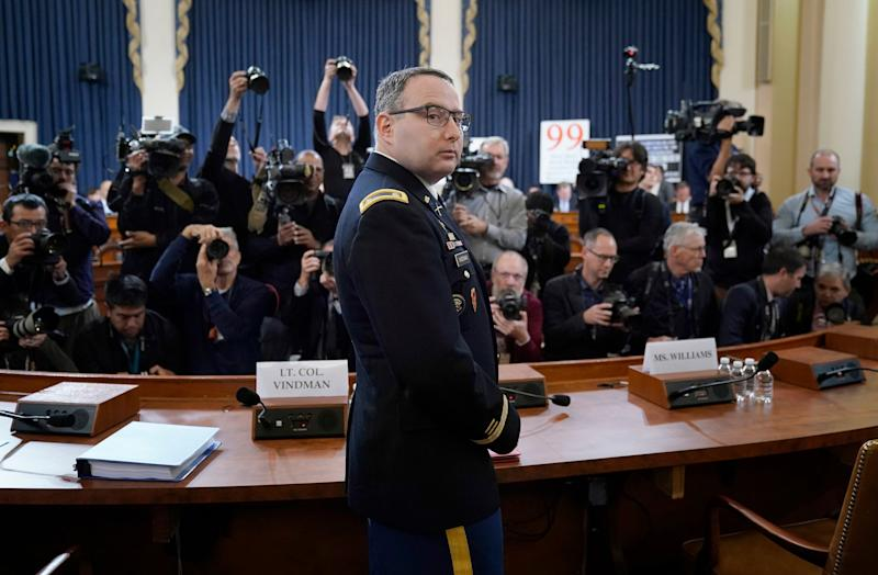Lt Col Alexander Vindman prepares to give evidence at the impeachment hearings into Donald Trump: Getty Images