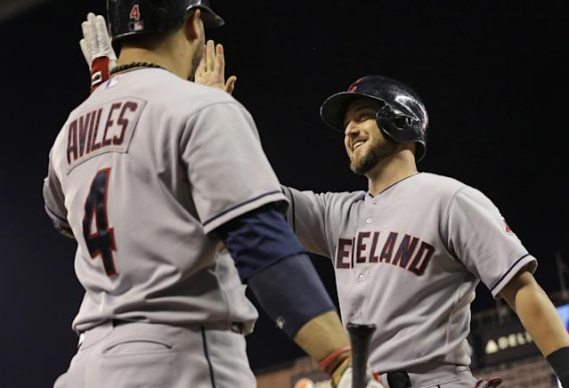 Cleveland Indians' Ryan Raburn, right, slaps hands with Mike Avilies after Raburn scored on an error by Minnesota Twins' first baseman Chris Colabello during the fourth inning of a baseball game, Thursday, Sept. 26, 2013, in Minneapolis. (AP Photo/Jim Mone)