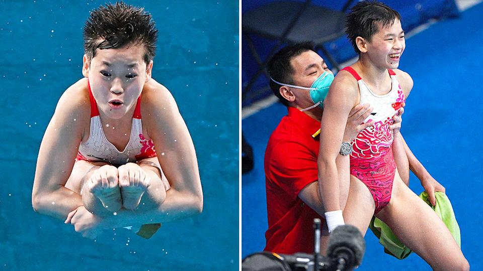 Pictured here, diver Quan Hongchan celebrates after winning gold in the women's 10m platform.