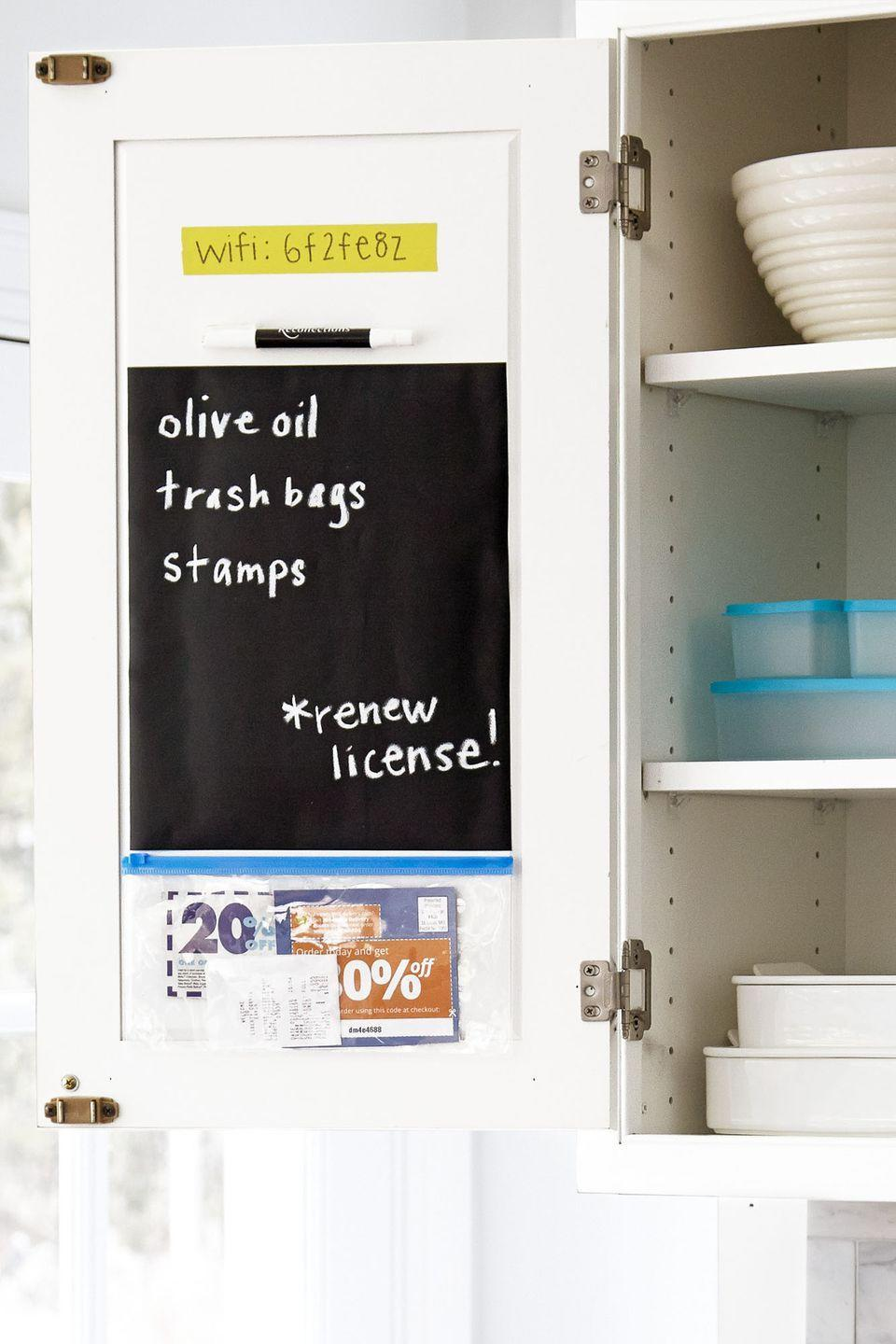 """<p>Turn the back of a cabinet into a makeshift shopping station with an adhesive pocket for coupons and chalkboard decal for shopping lists. And hey, you can even include your home's wifi password in case for the next time the kids' friends come over.</p><p><a class=""""link rapid-noclick-resp"""" href=""""https://www.amazon.com/Smead-Self-Adhesive-Pockets-Different-68167/dp/B0186KGEZK/?tag=syn-yahoo-20&ascsubtag=%5Bartid%7C10063.g.36459111%5Bsrc%7Cyahoo-us"""" rel=""""nofollow noopener"""" target=""""_blank"""" data-ylk=""""slk:SHOP SELF-ADHESIVE POCKET ORGANIZERS"""">SHOP SELF-ADHESIVE POCKET ORGANIZERS</a> </p>"""