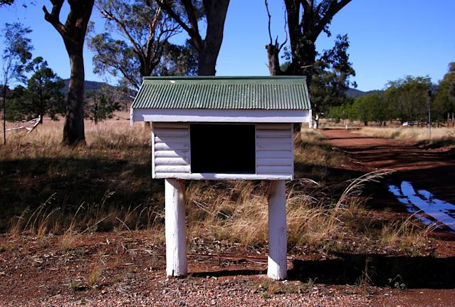 <p>An old, traditionally shaped Australian rural mailbox is seen in the outskirts of Gunnedah township, northwest of Sydney, Australia. (Photo: David Gray/Reuters) </p>