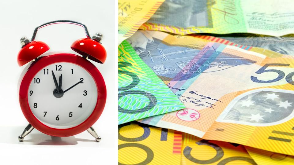 Pictured: Alarm clock, Australian cash. Images: Getty