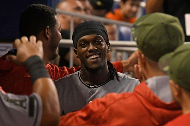 """<a class=""""link rapid-noclick-resp"""" href=""""/mlb/players/7684/"""" data-ylk=""""slk:Cameron Maybin"""">Cameron Maybin</a> is running at will, and no one can stop him. (Photo by Eric Espada/Getty Images)"""
