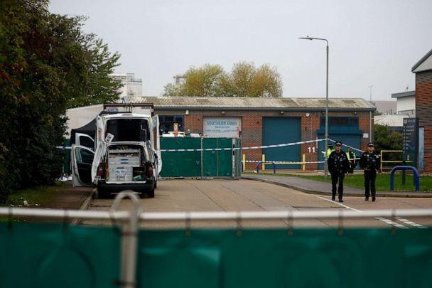 PHOTO: Police officers at the scene where bodies were discovered in a lorry container, in Grays, Essex, Britainm Oct. 23, 2019. (Hannah Mckay/Reuters)