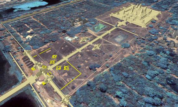 Another find reported in Antiquity is the discovery of the remains of eight towers near the western gateway of Angkor Wat. The location of the tower remains can be seen in this image. Some of the towers appear to form square patterns and may ha