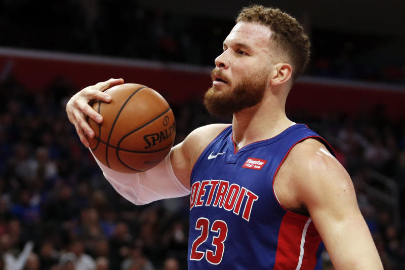 Apr 20, 2019; Detroit, MI, USA; Detroit Pistons forward Blake Griffin (23) reacts after a play during the second quarter against the Milwaukee Bucks at Little Caesars Arena. Mandatory Credit: Raj Mehta-USA TODAY Sports