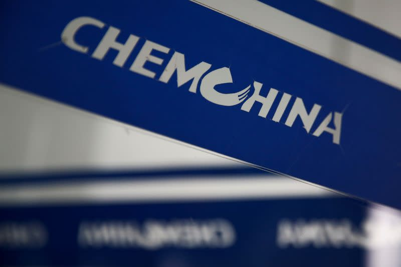 FILE PHOTO: The company logo of China National Chemical Corp, or ChemChina, is seen at its headquarters in Beijing