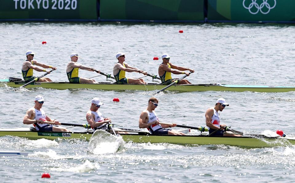 Alexander Purnell, Spencer Turrin, Jack Hargreaves and Alexander Hill of Team Australia compete against Oliver Cook, Matthew Rossiter, Rory Gibbs and Sholto Carnegie of Team Great Britain during the Men's Four Final A on day five of the Tokyo 2020 Olympic Games at Sea Forest Waterway on July 28, 2021 in Tokyo, Japan - Getty Images AsiaPac