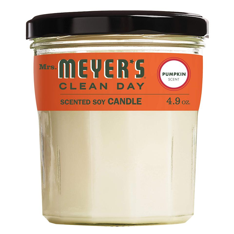 "<h2>Meyer's Clean Day Scented Soy Candle</h2><br><strong>Notes: </strong>warm pumpkin <br><strong>Made From:</strong> scented soy <br><br><strong><em><a href=""https://www.amazon.com/stores/Mrs.+Meyers/page/9EC98B69-B8E1-4577-9CD6-4B00C6B648AB?ref_=ast_bln"" rel=""nofollow noopener"" target=""_blank"" data-ylk=""slk:Shop Amazon"" class=""link rapid-noclick-resp"">Shop Amazon</a></em></strong> <br><br><strong>Mrs. Meyers</strong> Clean Day Scented Soy Candle, $, available at <a href=""https://amzn.to/3iVrEL6"" rel=""nofollow noopener"" target=""_blank"" data-ylk=""slk:Amazon"" class=""link rapid-noclick-resp"">Amazon</a>"