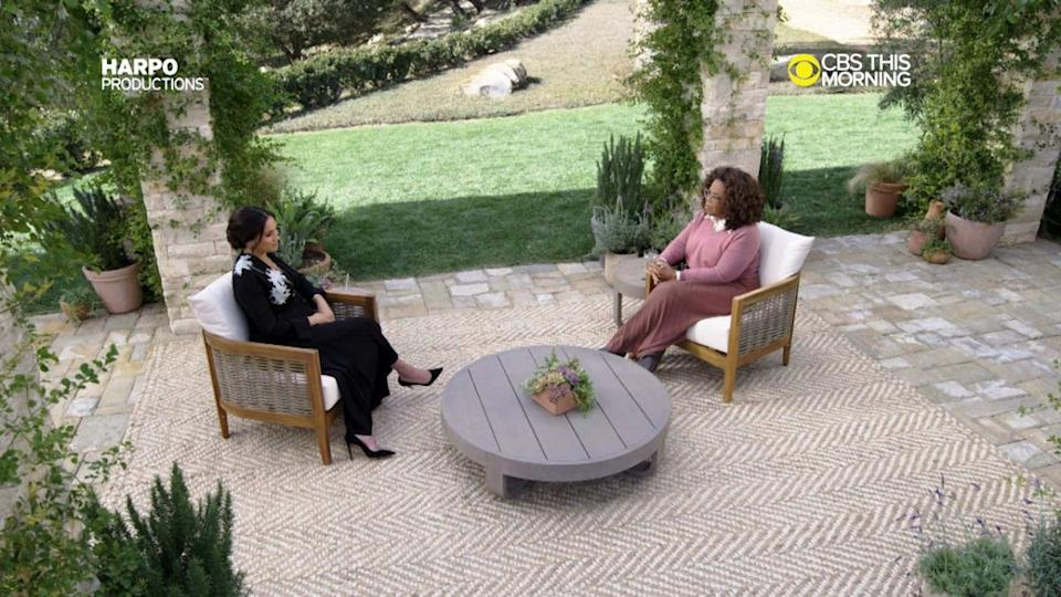 Meghan told Oprah she found it liberating to talk to her without asking the palace first. (Harpo/CBS)