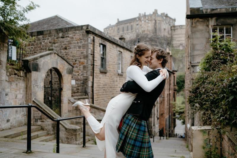 Sabrina Nordlund and Angus Gibson, 24 and 27, on their wedding day in Edinburgh (Photo: Lina Hayes)