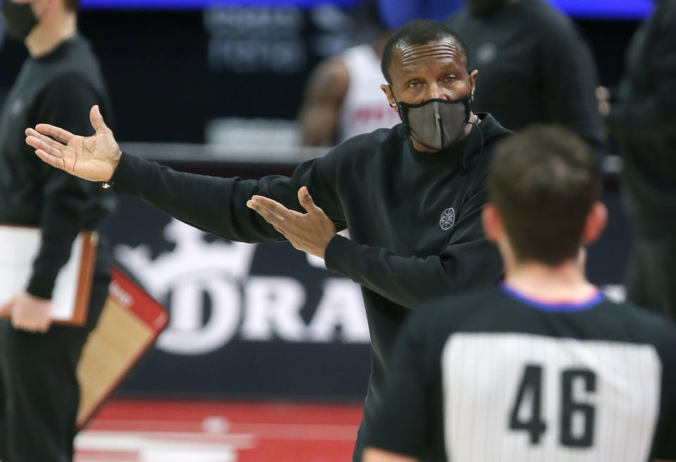 Detroit Pistons head coach Dwane Casey argues with referee Ben Taylor (46) during the second quarter of an NBA basketball game against the Atlanta Hawks Monday, April 26, 2021, in Detroit. (AP Photo/Duane Burleson)