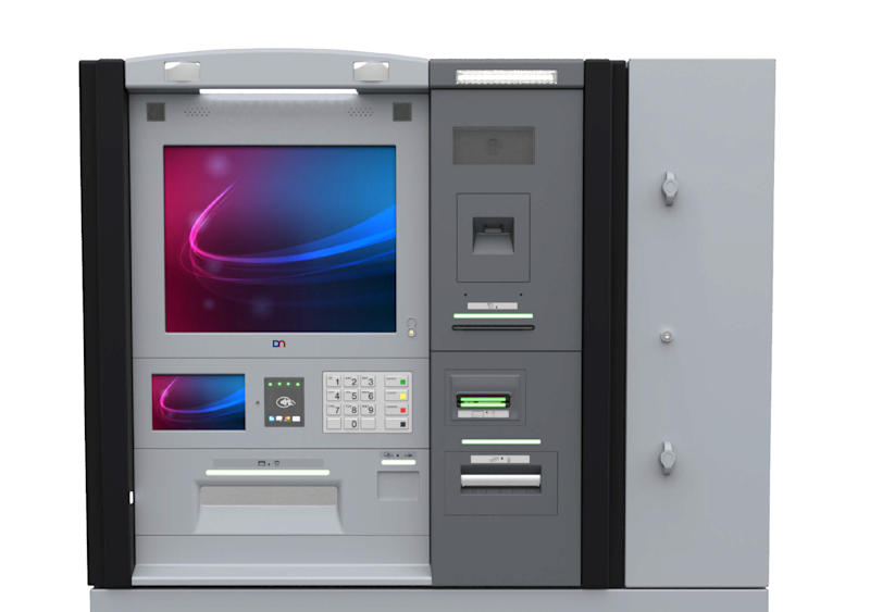 ATM with colored screen and light and dark gray mechanical elements.