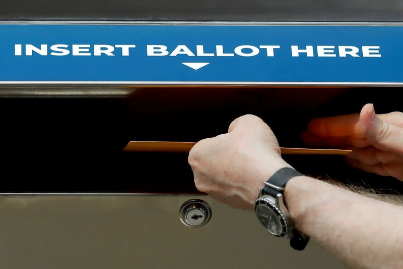 FILE PHOTO: New York State and City legislators rally for legislation to allow absentee ballot drop box locations across the state in New York