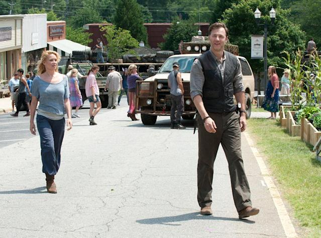 "Andrea (Laurie Holden) and Governor (David Morrissey) in ""The Walking Dead"" episode, ""Walk With Me."""