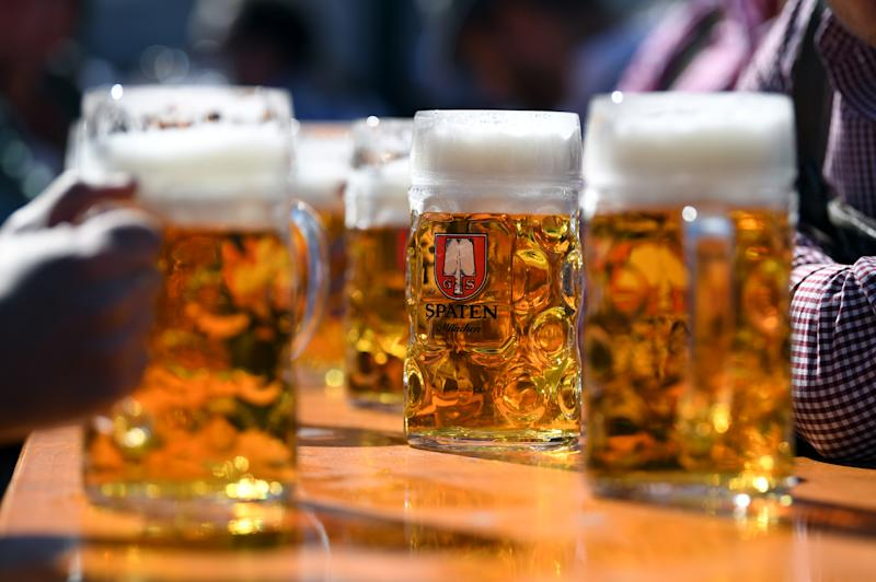 The pints of beer are pictured at the opening day of the 186th Oktoberfest in Munich, Germany September 21, 2019. REUTERS/Andreas Gebert