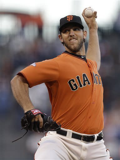 San Francisco Giants' Madison Bumgarner works against the San Diego Padres in the first inning of a baseball game Friday, April 19, 2013, in San Francisco. (AP Photo/Ben Margot)
