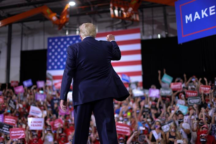 Donald Trump rallies with supporters
