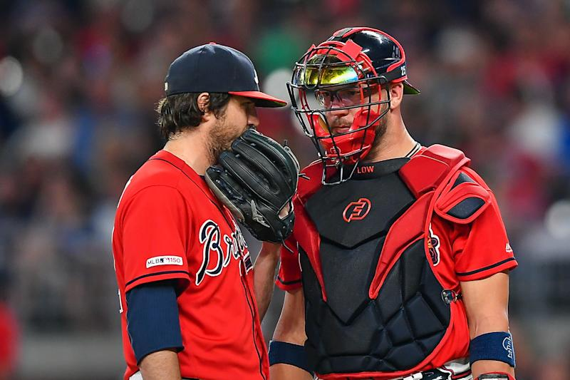 ATLANTA, GA JULY 19: Atlanta Braves pitcher Luke Jackson (left) and catcher Tyler Flowers (right) talk things over in the 9th inning during the game between the Washington Nationals and the Atlanta Braves on July 19th, 2019 at SunTrust Park in Atlanta, GA. (Photo by Rich von Biberstein/Icon Sportswire via Getty Images)