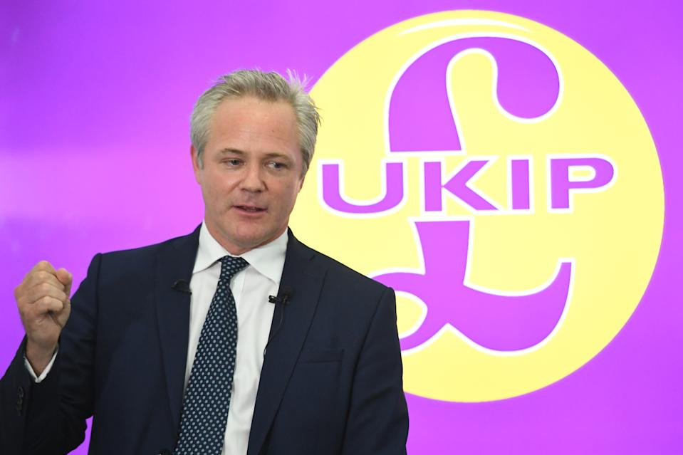 Newly-installed UKIP leader Richard Braine speaks at a press conference at Church House in Westminster, London.
