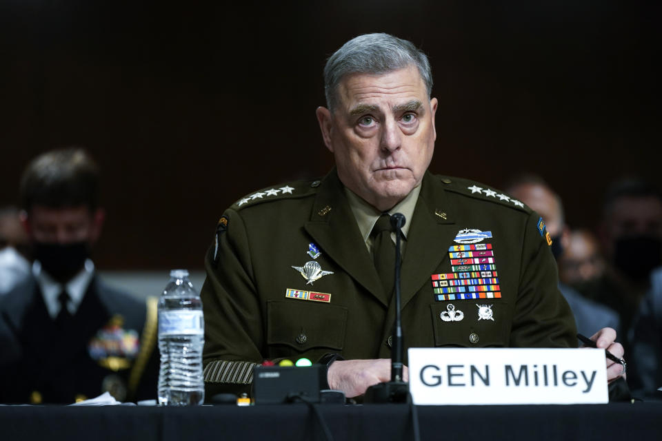 Chairman of the Joint Chiefs of Staff Gen. Mark Milley listens to a Senator's question during a Senate Armed Services Committee hearing on the conclusion of military operations in Afghanistan on Tuesday, Sept. 28, 2021, on Capitol Hill in Washington. (Patrick Semansky/AP via Pool)