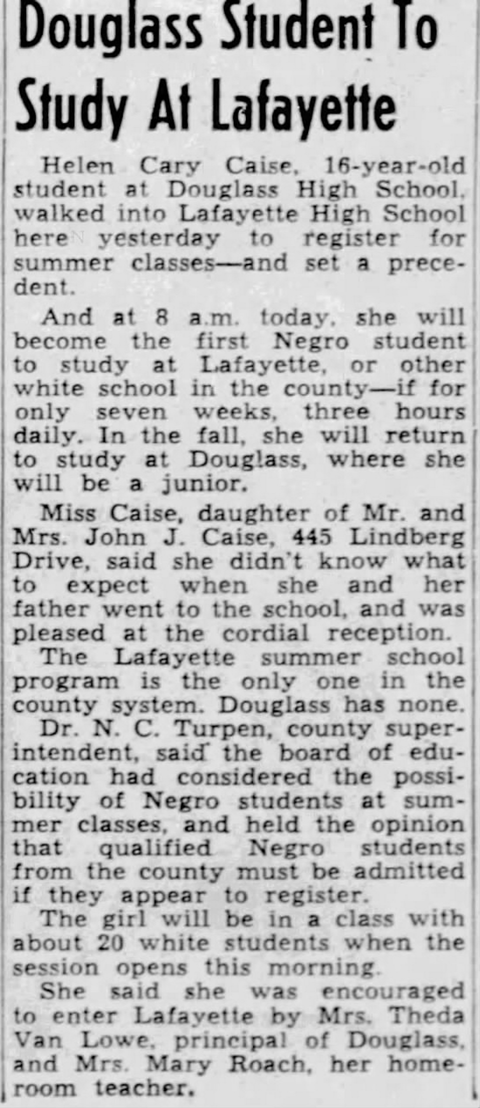 The June 7, 1955 Lexington Herald story about Helen Caise, who integrated the Lexington schools by going to summer school at Lafayette High School.