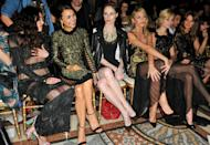LONDON, ENGLAND - FEBRUARY 15: (L-R) Eliza Doolittle, Samantha Barks, Coco Rocha, Abbey Clancy, Nina Nesbitt and Millie Mackintosh attend the Julien Macdonald show at London Fashion Week AW14 at Royal Courts of Justice, Strand on February 15, 2014 in London, England. (Photo by Nick Harvey/WireImage)